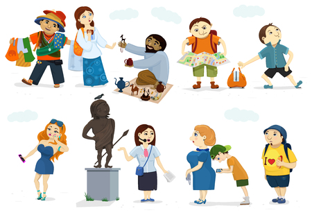 astray: set of comic cartoon tourists. Illustrations of activities, behaviors and recreation on trip. Different types of voyagers, guide, also burglar, street dealers. Funny characters of people.