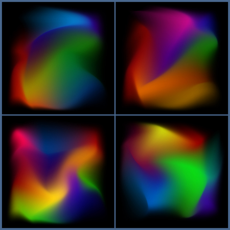 pied: set of colorful blurred blots on black background. Abstract beautiful varicolored background. Illustration