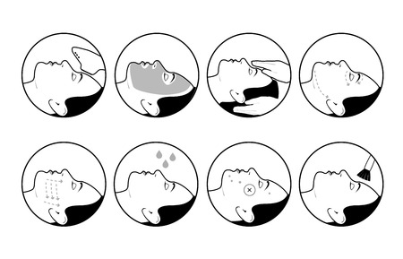 A set of round cosmetology icons. Medical procedures for beauty and health of face skin.