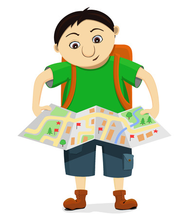Cartoon funny bewildered tourist with backpack looks at the map and tries to find the way. Isolated comic traveller lost in voyage. Vector illustration of character on white background.