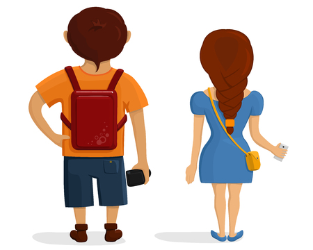 Boy and girl on journey from the back. Rear view of young couple. Backside view of person. Isolated vector illustration of cartoon tourists character on white background.