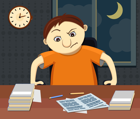 weary: Grumpy and tired student sits by the table with homework at night. Funny vector illustration of comic displeased character. Boy weary and do not want to do work.Grumpy and tired student sits by the table with homework at night. Funny vector illustration o