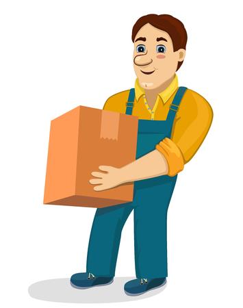 Grappige cartoon porter met kartonnen doos. geïsoleerd transport en levering bedrijf vector illustratie. Werknemer mover man houden en die zware doos. Leuke het glimlachen karakter loader. Vector Illustratie