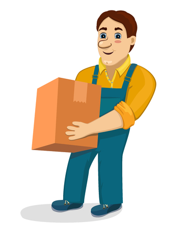 Funny cartoon porter with cardboard box. Transportation and delivery company isolated vector illustration. Worker mover man holding and carrying heavy carton. Cute smiling character loader.