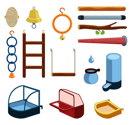 Isolated accessories for parrot, canary or other bird in cage.  illustration of perch, wood branch, bell, trough, feeder, drinking bowl, plaything, toy, ladder, bath, ring for pets. Icon set. Illustration