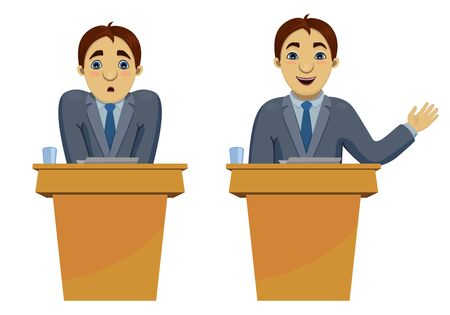 Illustration of funny cartoon character: confused scared speaker and confident orator speaking the speech. Transformation of person on conference. Isolated on white background.