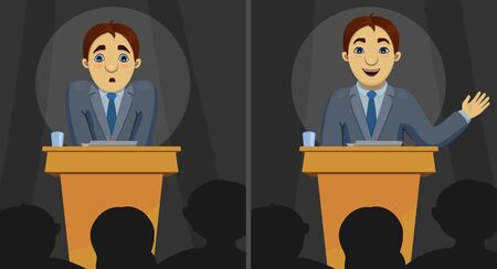 bewildered: Illustration of funny cartoon character: confused scared speaker and confident orator speaking the speech. Transformation of person on conference. Illustration