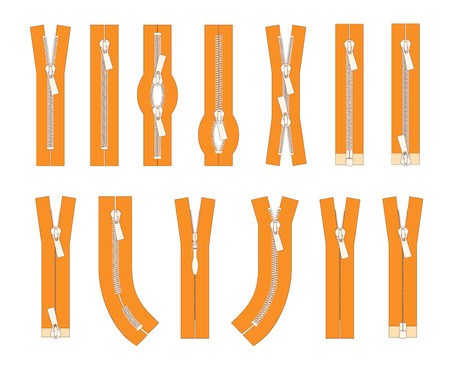 Vector set of zippers and fastener. Schematic isolated illustration of different types of zippers in a closed and opened positions. Metal or plastic clasps. Clothes accessory.