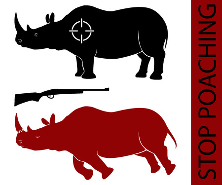 Vector illustration - concept of saving rhino and stopping poaching. Isolated silhouette of the alive and dead animal on white background. Also target and gun. Social problem of illegal hunting.