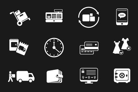 Icon set pour boutique en ligne ou de la société logistique. le stockage de marchandises et la livraison, le paiement et le remboursement. pictogrammes de vecteur sur fond noir.