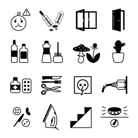 cleanser: Vector icon set of different indoor and outdoor dangers for small children: opened door and window, drugs, alcohol, toxic plant and mushroom, gas stove, iron, stairs, cleanser, power socket.