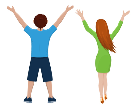 Boy and girl from the back. Isolated vector illustration of cartoon characters with raised hands on white background. Illustration