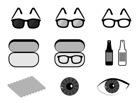 oculist: Vector set of ophthalmology icons: isolated sunglasses, lens, accessories, spray, rag, case for glasses on white background.