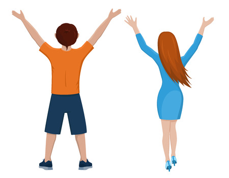 Boy and girl from the back. Rear view of young couple. Backside view of person. Isolated vector illustration of cartoon characters with raised hands on white background. Illustration