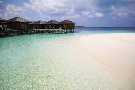 vilamendhoo: View of vilamendhoo island at the water bungalows side in the Indian Ocean, Maldives