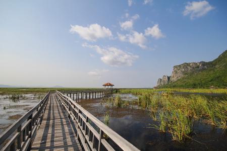 floating bridge: Mountain view from Wooden Bridge at Khao sam roi yod national park, Prachuap Khiri Khan, Thailand Stock Photo