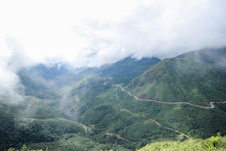 Landscape View from the Tram Ton Pass, Sapa District, Lao Cai Province, Northwest Vietnam 스톡 콘텐츠