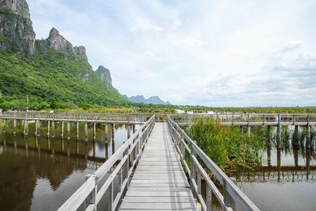 Mountain view from Wooden Bridge at Khao sam roi yod national park, Prachuap Khiri Khan, Thailand Stock Photo
