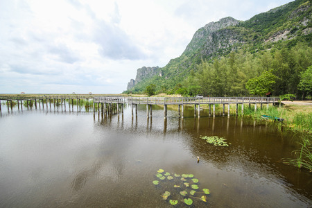 Mountain view from Wooden Bridge at Khao sam roi yod national park, Prachuap Khiri Khan, Thailand Stock Photo