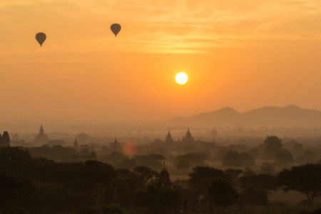Beautiful sunrise and landscape view of Bagan from Shwesandaw Pagoda, Bagan, Myanmar