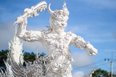Rong Khun temple, Wat Rong Khun, White temple, Chiangrai Thailand Stock Photo