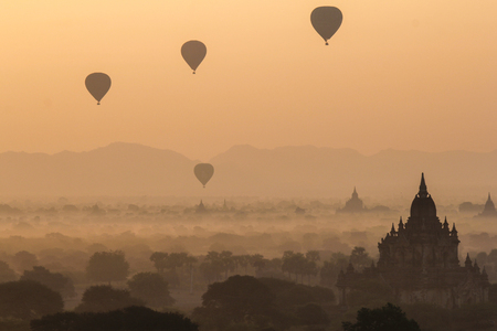 Beautiful sunrise and landscape view of Bagan from Shwesandaw Pagoda, Bagan, Myanmar