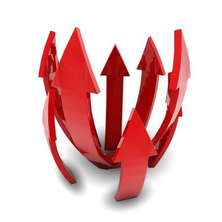 흰색 배경에 빨간색 화살표