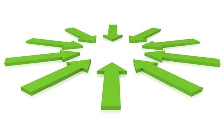 flecha azul: Las flechas verdes sobre un fondo blanco