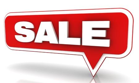 흰색 배경에 빨간색 판매 풍선 스톡 사진