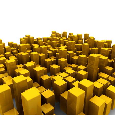 Cubes d'orange sur un fond blanc