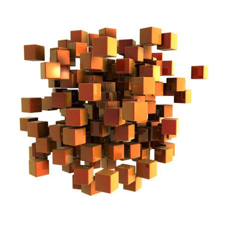 Orange cubes on a white background