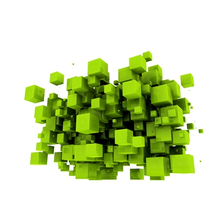 Green cubes on a white background