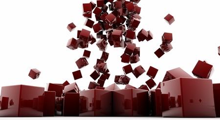 Cubes rouges sur un fond blanc