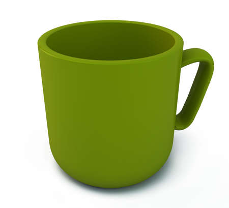 Green cup on a white background Stock Photo