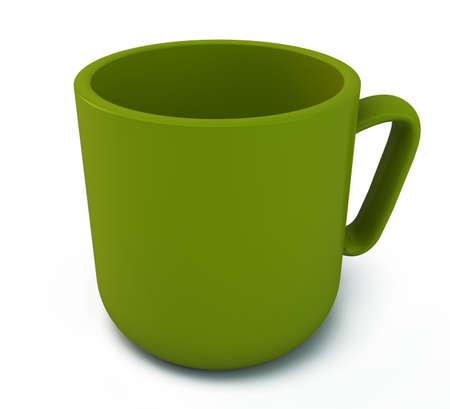 Tasse vert sur un fond blanc