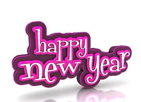 Happy new year on white background Stock Photo - 15705455