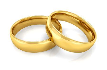 ring engagement: Dos anillos de oro juntos apilan uno sobre el otro  Foto de archivo