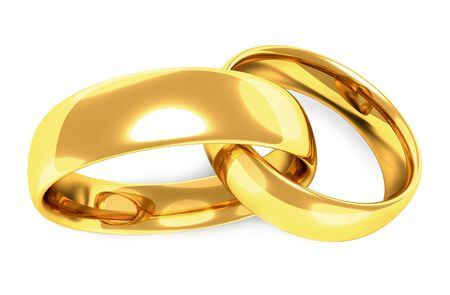 interweaving: Two gold rings linked together, interweaving, white background
