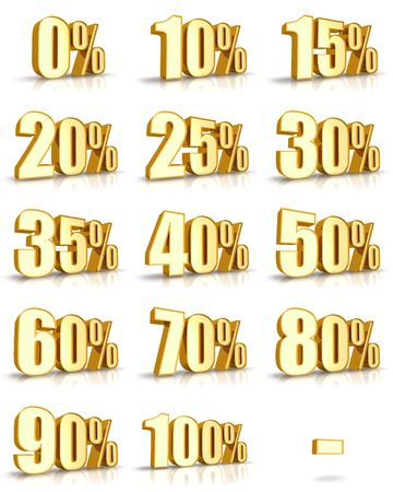 hot price: Complete set of golden percent tags for sales and discounts. Also for the flash animations (loading progress in percent). Gold price tags with minus.