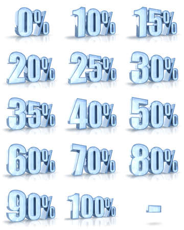 Complete set of ice percent tags for sales and discounts. Also for the flash animations (loading progress in percent). Ice price tags with minus. Stock Photo