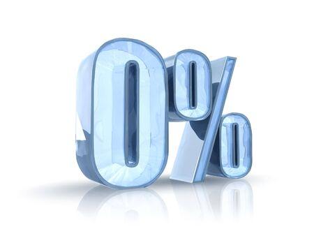 percent sign: Ice zero percent, isolated on white background. 0%