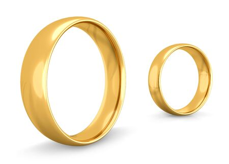 singly: Two golden wedding rings together but apart