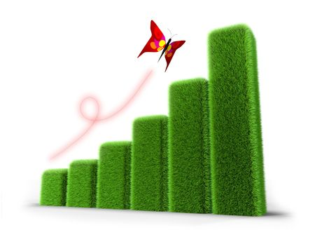Graph created with green grass and colorful butterfly on it. photo