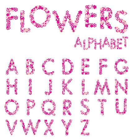 floral alphabet: Pink Flowers Alphabet