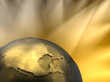zeměkoule: Gold globe close-up - North America, visible spotlights in background Reklamní fotografie