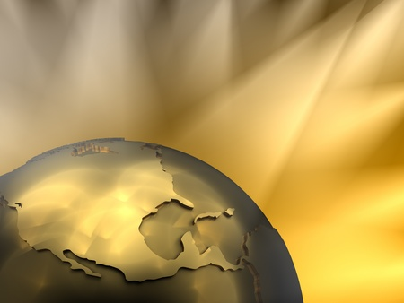 world globes: Gold globe close-up - North America, visible spotlights in background Stock Photo