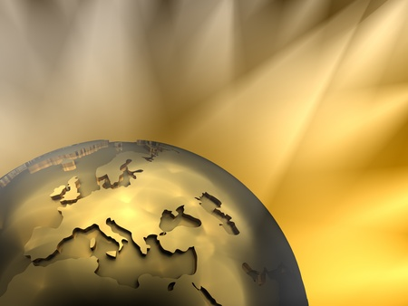visible: Gold globe close-up - Europe, visible spotlights in background