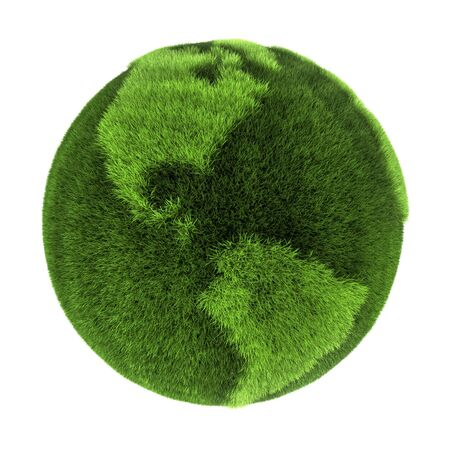 Earth made of green grass - North and South America - 3D abstract rendering Stock Photo