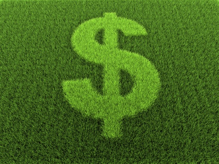 Grass in the shape of the dollar sign, 3D rendering photo