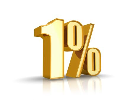 percent sign: Gold one percent, isolated on white background. 0% Stock Photo